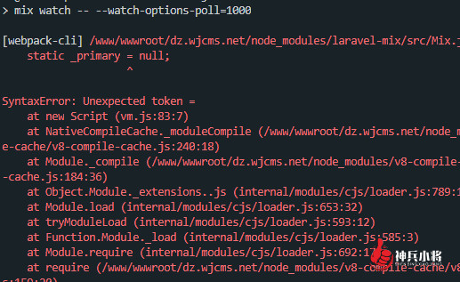 laravel使用npm构建报错laravel-mix/src/Mix.js:18 static _primary = null